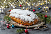 Traditional Christmas cake (Stollen).