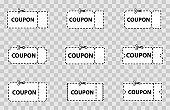 Set of Coupon, Ticket. Coupons, discount, sale, banners and labels set. Blank coupon cut from sheet of paper. Collection template Tickets and Coupons