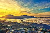 Amazing Sunrise Over Misty Landscape.