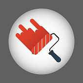Paint roller icon, vector illustration.Vector paint roller icon