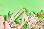 Cotton bags and glassware for free plastic shopping