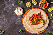 FAJITAS with colored pepper and onions