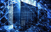 3D illustration binary code and extruded chaotic cubes on background of modern data center servers, the concept of modern information technology