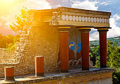 Reconstructed temple at Palace of Knossos on Crete Island in Greece
