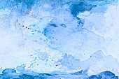 Blue watercolor background - abstract ocean, waves and sky