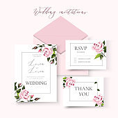 Wedding floral invitation card save the date design with pale pink roses