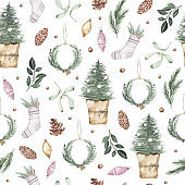 Watercolor winter seamless pattern with christmas tree, wreath cone xmas toys