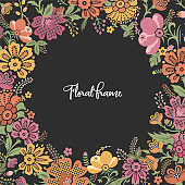 Floral vector frame. Decorative floral background for text. Green background with multicolor leaves and flowers. Spring summer field of flowers template.