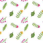 Seamless floral vector pattern. Fields of flowers background. Trendy stylish pattern for fabric and textile. Summer and spring inspiration wallpaper. Chaotic plant elements.