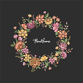 Floral vector wreath frame. Decorative floral background for text. Green background with multicolor leaves and flowers. Spring summer field of flowers template.