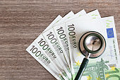 Euro banknote. euro currency bills.Health and medical life insurance and treatment concept