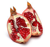 Sweet pomegranate pieces isolated on white