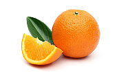 Fresh Oranges and leaves on white background