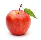 Single gala apple with leaf isolated