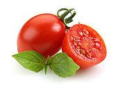 Fresh cherry tomatoes isolated on white