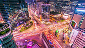 Seoul city and Traffic at niaht intersection in Gangnam, South Korea.