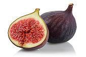 Fresh purple fig fruits isolated on white
