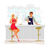 Attractive blonde girl drinks