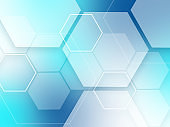 Blue abstract background hexagons pattern tech sci fi innovation concept
