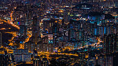 Cityscape after sunset in Hong Kong