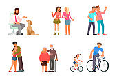 Set of people characters with best friends