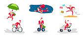 Set of Young athletic Santa Claus