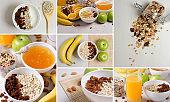 Set of photos. Healthy food. Healthy vegetarian Breakfast of oatmeal, granules, fruits, raisins, nuts