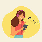Happy young woman listening to music with headphones. Vector flat style illustration