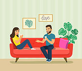 Young woman and man  sitting on sofa isolated. Vector flat style illustration