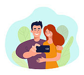 Young woman and man taking selfie isolated. Vector flat style illustration
