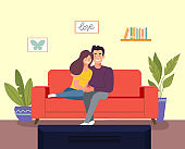 Young woman and man  sitting on sofa and watching TV in the living room. Vector flat style illustration