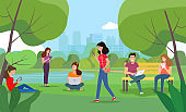 People look at gadgets in the park. Vector flat style illustration