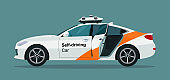 Self-driving sedan car with an open door. Vector flat style illustration.