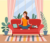 Woman meditating. Living room. Woman in yoga pose, lotus position. Vector flat illustration.