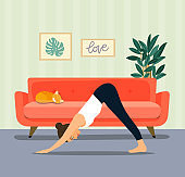 Young woman in yoga dog pose in the room. Vector flat illustration