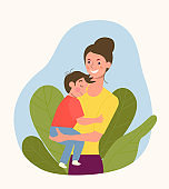 Young mother with baby. Vector flat style illustration