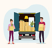 Things in box in the trunk of the truck. Man and woman hold boxes. Moving House. Vector flat style illustration
