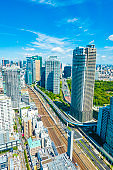 cityscape and blue sky of Tokyo Japan
