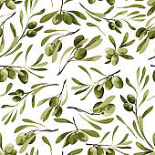 Vector seamless pattern with olive tree on a white background with plant and leaves