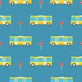 Yellow Bus Seamless Pattern