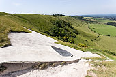 Eye of the White Horse on hill in Wiltshire, England