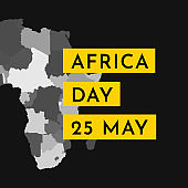 Vector illustration card with grey silhouette of continent Africa with states borders. Text Africa Day. 25 May. Black background