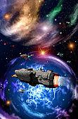 Spaceships fleet is flying near a big nebula, 3d illustration