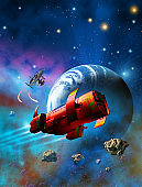 Red spaceship flying around a planet like earth, background with nebula and stars, 3d illustration