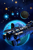 Cargo spaceship flying around a planet like earth with a moon, background with nebula and stars, 3d illustration
