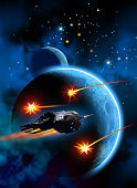 Rockets exploding near a spaceship, around a planet with a moon, in the background nebula and stars, 3d illustration
