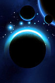 Alien planetary system, background with planets, moons, stars and nebula, 3d illustration
