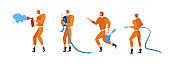 Firefighters in action poses. Vector firefighter emergency, illustration of fireman