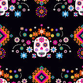 Mexican seamless pattern with sugar skulls
