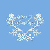 Happy Merry Christmas lettering card 1